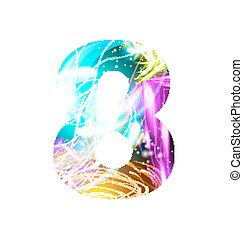 Glowing Light effect neon Font. Color Design Text Symbols. Shiny number 8