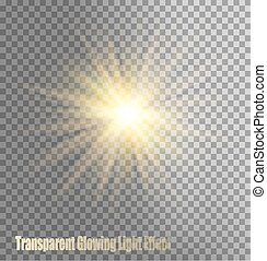Glowing Light Effect On Transparent Background. Vector