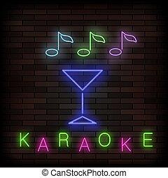 Glowing Light Karaoke. Musical Logo. Colorful Line Icon. Sign Board of Music Bar