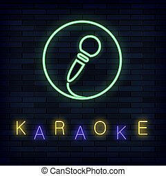 Glowing Light Karaoke on Brick Background. Musical Logo with Microphone. Colorful Line Icon. Sign Board of Music Bar
