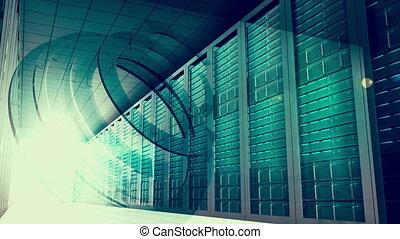 Glowing light moving through server - Digital animation of...