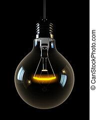 glowing light on black background