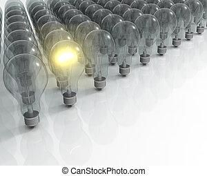 Glowing lightbulb - 3D render of one glowing light bulb ...