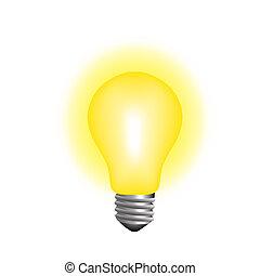 glowing lightbulb realistic vector illustration concept idea