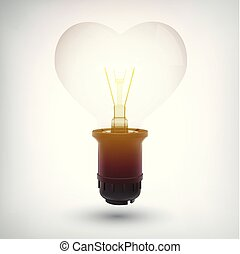Glowing Lightbulb With Plastic Base Concept
