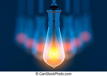 Glowing lightbulbs on blue background