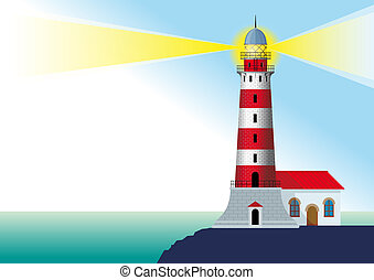 glowing striped lighthouse standing on a rock by the ocean