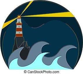 Glowing lighthouse vector or color illustration