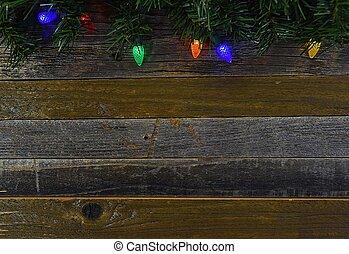 glowing lights on barn wood