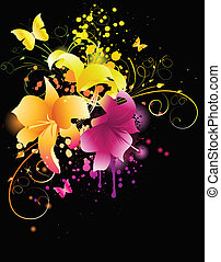 Glowing lily flowers with florals elements and grunge...