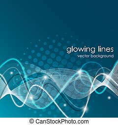 Glowing lines, abstract vector background with space for your message
