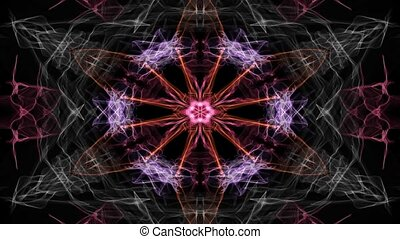 Glowing live mandala multicolored on black background, for...