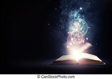 glowing, livro, com, cores
