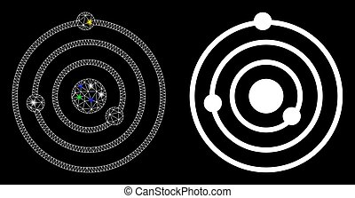Glowing Mesh Carcass Solar System Icon with Light Spots