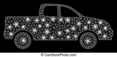 Glowing Mesh Wire Frame Pickup Car with Flash Spots
