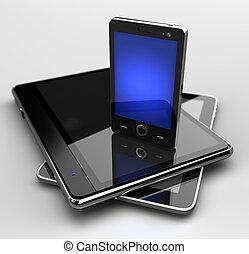 Glowing mobile phone standing on digital pads