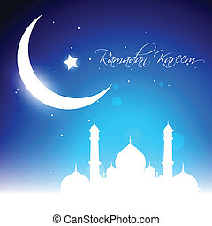 glowing moon - beautiful glowing moon background. Ramadan...