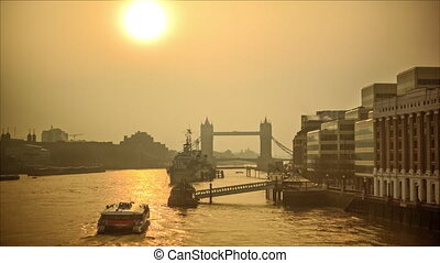 Glowing morning on the river Thames