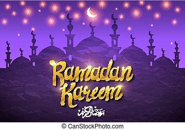 Glowing mosque, moon and star on a purple background. Ramadan Kareem. Vector illustration.
