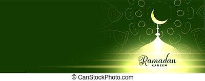 glowing mosque ramadan kareem banner design
