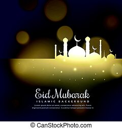 glowing mosque silhouette design eid mubarak greeting