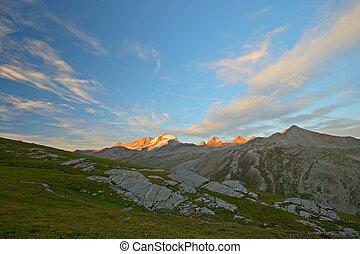 Glowing mountain peak