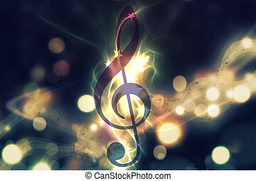 Glowing music background - Violin key, music note symbol....