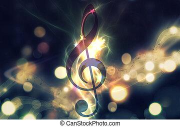 Glowing music background - Violin key, music note symbol....