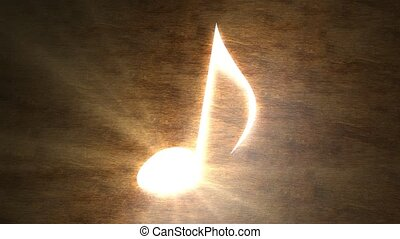 Glowing musical note on the table. The magic of music. Note...