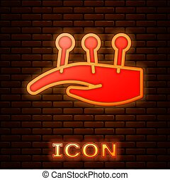 Glowing neon Acupuncture therapy on the hand icon isolated on brick wall background. Chinese medicine. Holistic pain management treatments. Vector