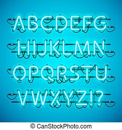 Glowing Neon Azure Blue Alphabet