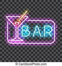 Glowing neon bar sign with martini glass isolated on...