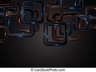 Glowing neon blue orange squares abstract background