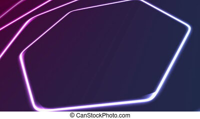 Glowing neon blue purple hexagons abstract video animation