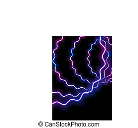 Glowing neon blue purple wavy shapes background
