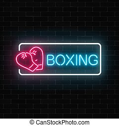 Glowing neon boxing club sign in rectangle frame on dark brick wall background. Fighting club neon signboard.