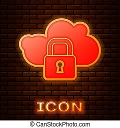 Glowing neon Cloud computing lock icon isolated on brick wall background. Security, safety, protection concept. Protection of personal data. Vector