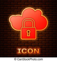 Glowing neon Cloud computing lock icon isolated on brick wall background. Security, safety, protection concept. Protection of personal data. Vector Illustration