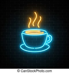 Glowing neon coffee cup icon on a dark brick wall background. Light effect hot beverage or cafe sign.