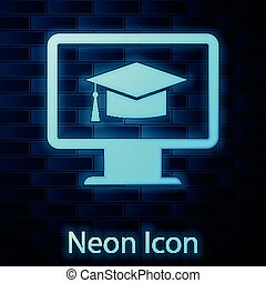 Glowing neon Computer monitor with graduation cap icon isolated on brick wall background. Online learning or e-learning concept. Internet knowledge symbol. Vector Illustration
