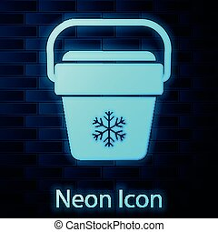 Glowing neon Cooler bag icon isolated on brick wall background. Portable freezer bag. Handheld refrigerator. Vector Illustration