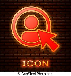 Glowing neon Create account screen icon isolated on brick wall background.  Vector