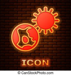 Glowing neon Earth globe and sun icon isolated on brick wall background. World or Earth sign. Global internet symbol. Geometric shapes. Vector Illustration