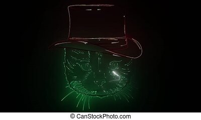 Glowing neon effect Cats club Maine coon sign. cat head, ...