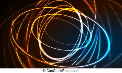 Glowing neon ellipses, bright traces video animation -...