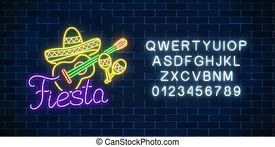 Glowing neon fiesta holiday sign with alphabet. Mexican festival flyer design with guitar, maracas and sombrero hat.