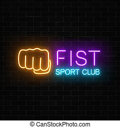 Glowing neon fighting sport club sign on dark brick wall background. Boxing club neon signboard.