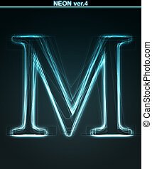 Glowing neon font. Shiny letter M