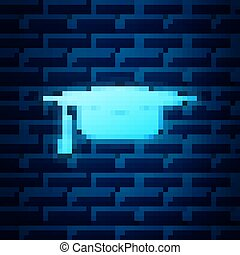 Glowing neon Graduation cap icon isolated on brick wall background. Graduation hat with tassel icon. Vector Illustration