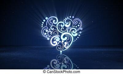 glowing neon heart shape